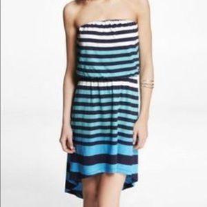 Express striped strapless hi-low dress, size M